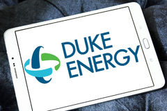Duke energy company logo. Logo of energy and home services company duke energy on samsung tablet royalty free stock images