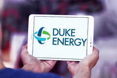 Duke energy company logo. Logo of energy and home services company duke energy on samsung tablet stock image