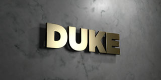 Duke - Gold sign mounted on glossy marble wall - 3D rendered royalty free stock illustration. This image can be used for an online website banner ad or a print stock illustration