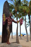 Duke Kahanamoku. Statue on Waikiki Beach, Honolulu. Duke famously popularized surfing and won gold medals for the USA in swimming Stock Photo