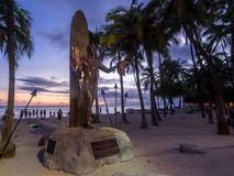 Duke Kahanamoku Statue at dusk Stock Images