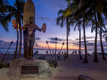 Duke Kahanamoku Statue at dusk Stock Image
