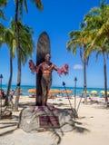 Duke Kahanamoku Statue op Waikiki-Strand Stock Foto's