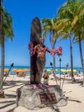 Duke Kahanamoku Statue on Waikiki Beach Royalty Free Stock Image