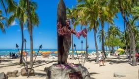 Duke Kahanamoku Statue on Waikiki Beach. WAIKIKI, HI - AUG 3: Duke Kahanamoku Statue on Waikiki Beach on August 3, 2016 in Honolulu. Duke famously popularized Royalty Free Stock Photography