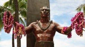 Duke Kahanamoku Statue, Waikiki Beach, Honolulu, Oahu, Hawaii stock video
