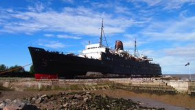 The abandoned ship The Duke of Lancaster Ship, North WAles. The Duke of Lancaster is a former cruise ship that operated in Europe between 1956 until 1979. It is Royalty Free Stock Images
