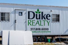 Whitestown - Circa March 2018: Duke Realty construction trailer. Duke Realty develops, builds and manages facilities I. Duke Realty construction trailer. Duke Stock Photography