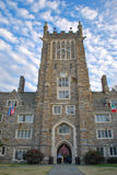 Duke University. Crowell Quadrangle Clock Tower at Duke University.  The Duke University campus is located in Durham, NC Stock Images