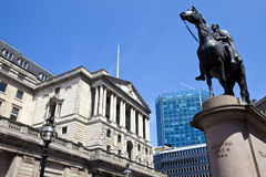 Duke of Wellington Statue and the Bank of England in London Royalty Free Stock Photo