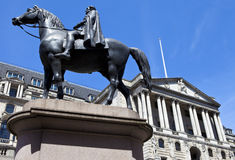 Duke of Wellington Statue and the Bank of England in London Royalty Free Stock Photos