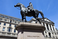 Duke of Wellington Statue and the Bank of England in London Royalty Free Stock Images