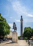 The Duke of York column with statue of King Edward VII on horseback in Pall Mall, London, UK. On 6 July 2017 stock image