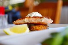 Dukkah crusted salmon Stock Image