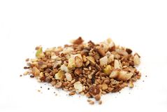 Dukkah spice. Mixture on white background Stock Photography
