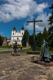 Dukla, Poland - July 20, 2016: Monument of St. John of Dukla and. Of St. John Paul II for Shrine of St. John of Dukla in Poland. Bernardine monastery fathers royalty free stock photography