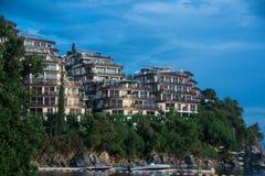 Dukley Gardens - luxury complex of hotels on Budva town, near sea. Budva, Montenegro Royalty Free Stock Photo