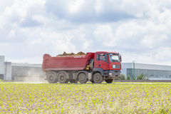 DUKOVANY, CZECH REPUBLIC MAY 28, 2014:Dump truck Tatra on green field Stock Photos