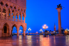 Duks palace on st. Marks square in Venice Italy. At dusk Royalty Free Stock Photo