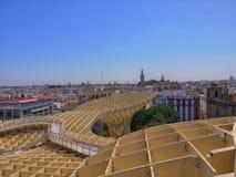 Dukt dachowi wierzchołki Seville Hiszpania od Metrop, fotografia royalty free