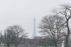 Duktu da Torre Eiffel entre jako àrvores na neve de Dia De Inverno um Obraz Stock