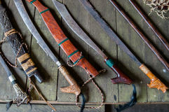 Duku Ilang. Traditional knife or machete made by natives from borneo Royalty Free Stock Photos