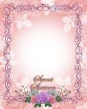 Dulce 16 rosas de la invitación del cumpleaños Imágenes de archivo libres de regalías