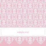 Dulce, tarjeta rosada elegante del cordón o invitación Imagen de archivo libre de regalías