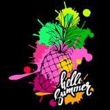 Dulce tropical del fondo del ejemplo del diseño del verano de la comida de la fruta del vector de la piña Fotos de archivo