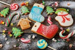 Dulces coloridos del día de fiesta de la Navidad Imagen de archivo