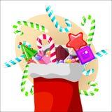 Dulces de la Navidad, piruletas y bastón de caramelo Foto de archivo