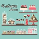 Dulces de la tarjeta del día de San Valentín stock de ilustración