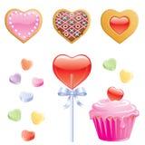 Dulces de la tarjeta del día de San Valentín Fotos de archivo
