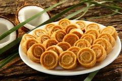 Dulces dulces del coco de la comida dulce del vegano de Diwali del indio Fotografía de archivo