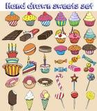 Dulces dibujados mano fijados Caramelo de la historieta, dulces, piruleta, torta, magdalena, buñuelo, macarrones, helado, jalea Foto de archivo libre de regalías