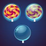 Dulces e iconos coloreados caramelos del vector fijados stock de ilustración