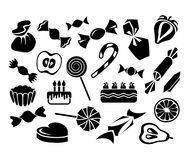 Dulces, frutas y tortas: sistema del vector Foto de archivo libre de regalías