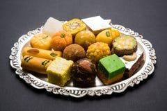 Dulces indios para el festival o la boda, foco selectivo del diwali Foto de archivo libre de regalías