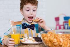 Dulces jovenes y amante de los alimentos de preparación rápida Fotografía de archivo libre de regalías