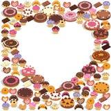 Dulces que forman un corazón Stock de ilustración