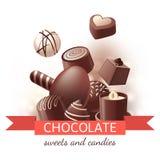 Dulces y caramelos del chocolate stock de ilustración