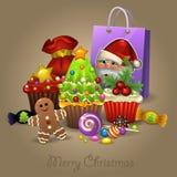 Dulces y presentes de la Navidad Imagen de archivo libre de regalías