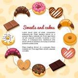 Dulces y tortas que forman un marco Fotografía de archivo libre de regalías