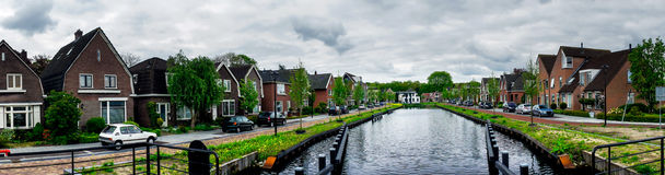 Dull Assen with canal.  Holland. Stock Images