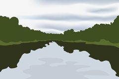 Dull day. Vector drawing - a reservoir in cloudy weather Royalty Free Stock Image
