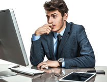 Dull entrepreneur dissatisfied with his profit, income, earnings, gain, benefit, margin Royalty Free Stock Photo
