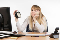 Dull office employee does not want to work in the morning in the office Royalty Free Stock Photography