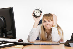 Dull office employee knows what lies ahead time Royalty Free Stock Photography