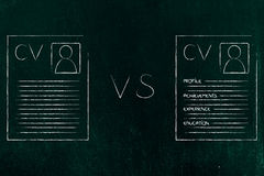 Dull vs appealing easy to read resume layout. Illustration about how to create a better cv Royalty Free Stock Photo