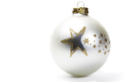 Dull white christmas ball with golden stars Stock Photo